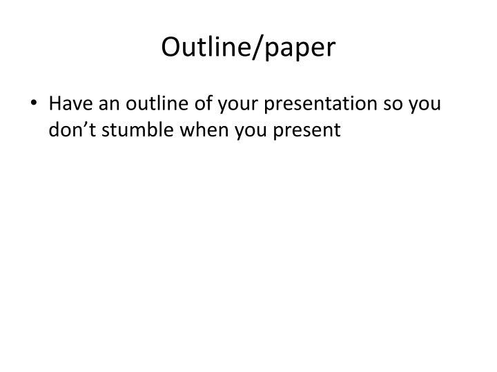 Outline/paper