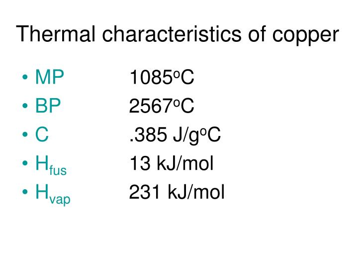 Thermal characteristics of copper