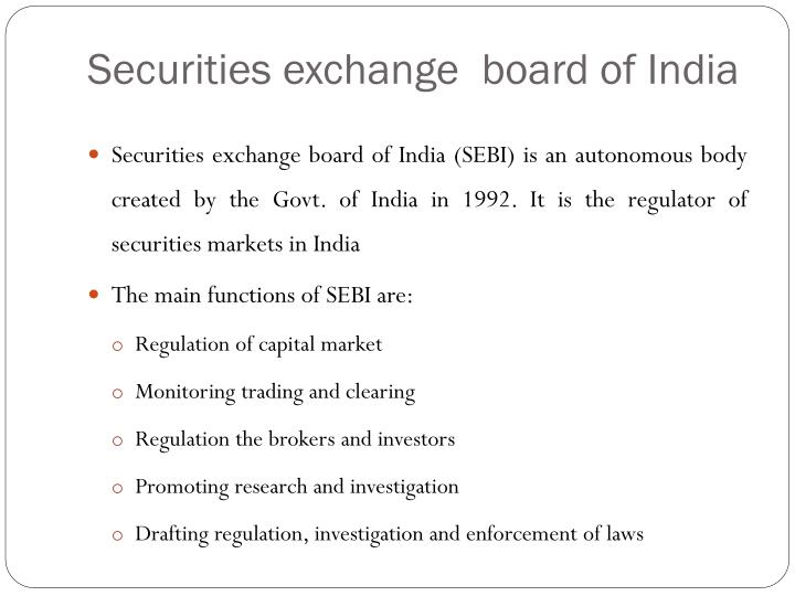 Securities exchange  board of India