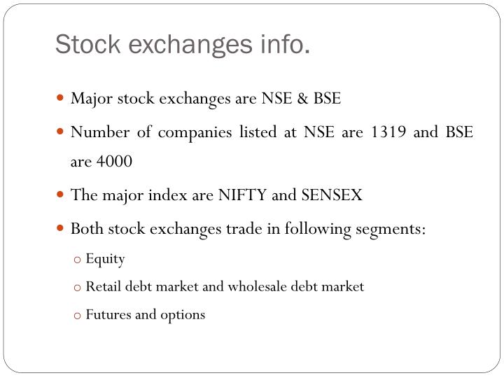 Stock exchanges info.