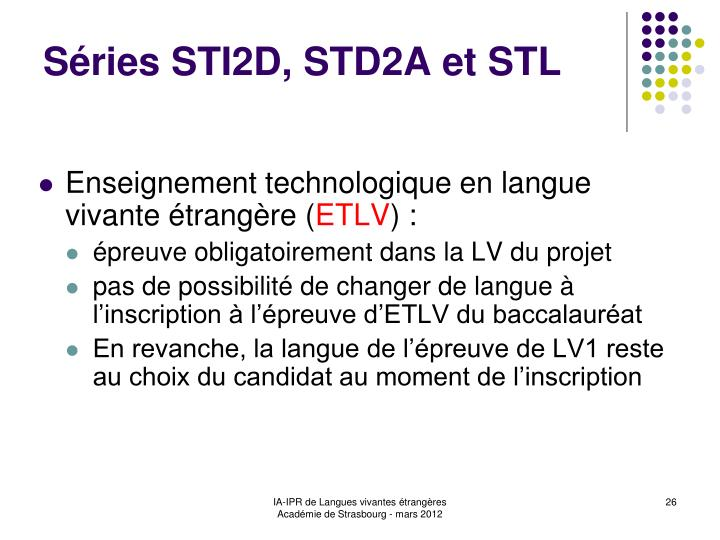 Séries STI2D, STD2A et STL
