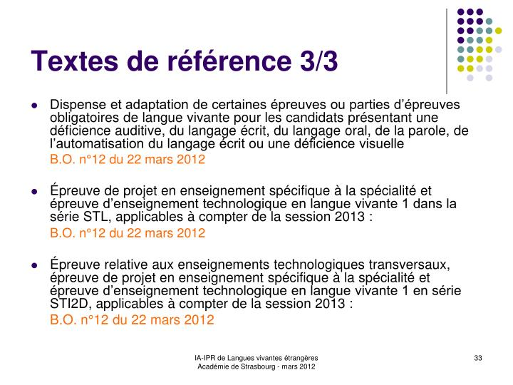 Textes de référence 3/3