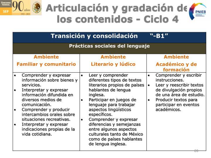 Articulación y gradación de los contenidos - Ciclo 4