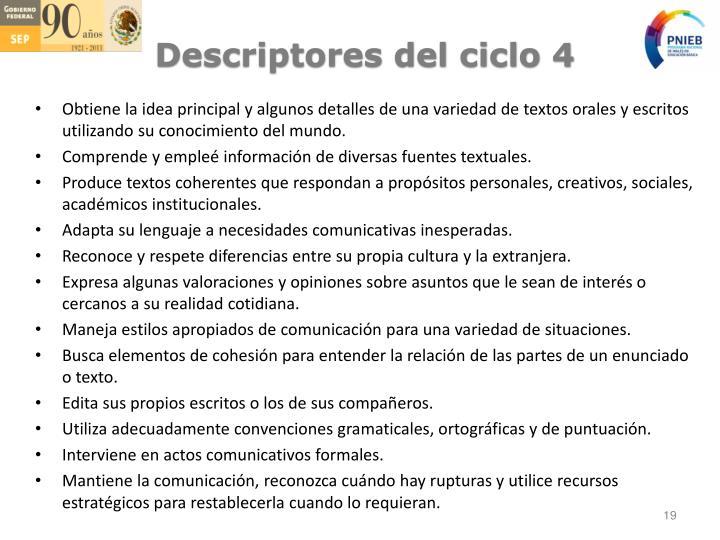 Descriptores del ciclo 4