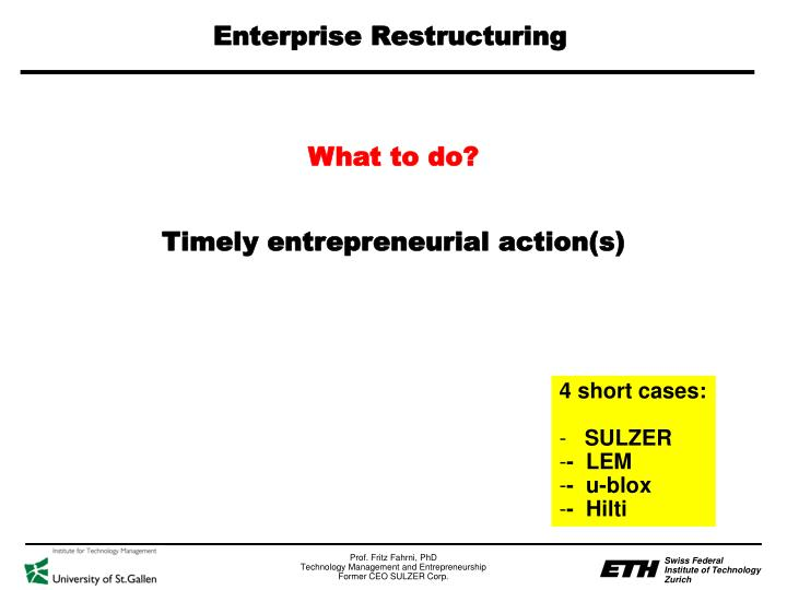 Enterprise Restructuring