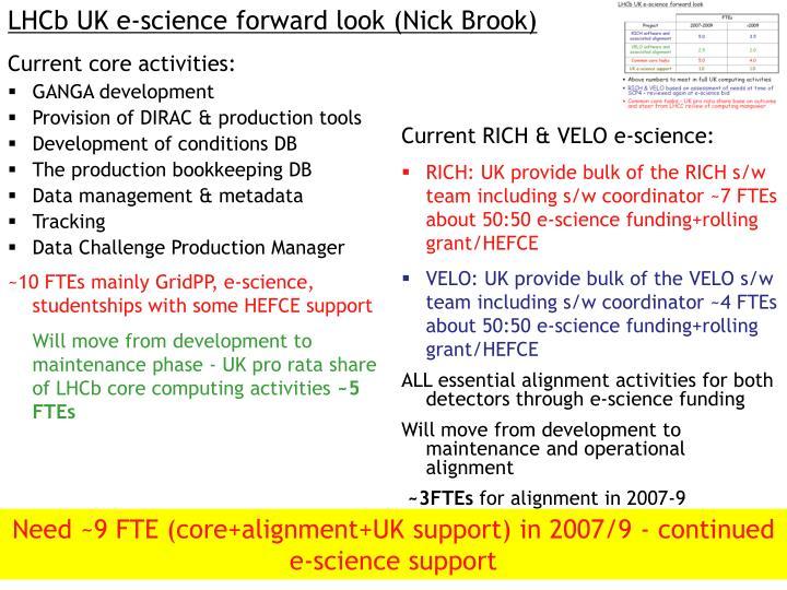 LHCb UK e-science forward look (Nick Brook)