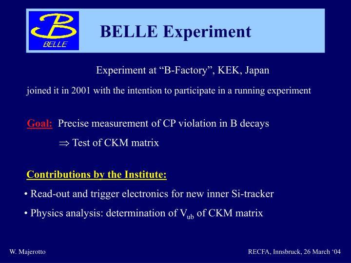 "Experiment at ""B-Factory"", KEK, Japan"