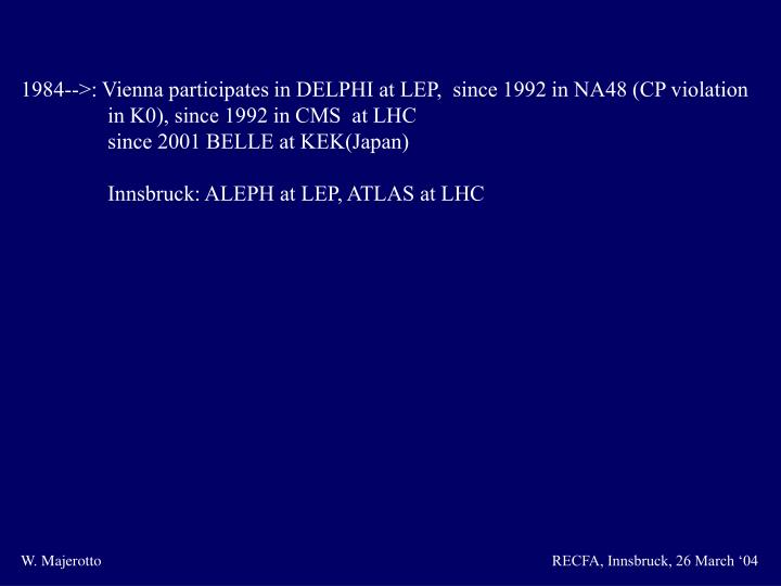 1984-->: Vienna participates in DELPHI at LEP,  since 1992 in NA48 (CP violation