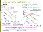 inclusive p jet t distributions