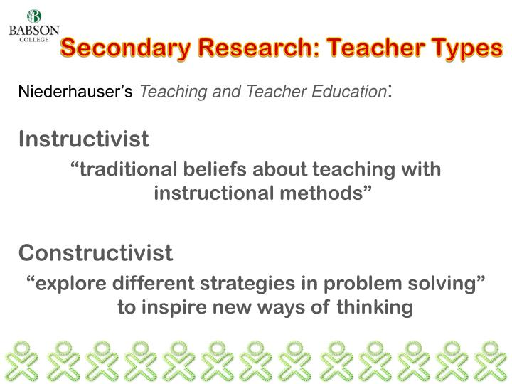 Secondary Research: Teacher Types
