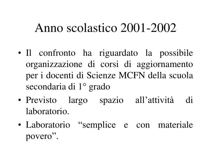Anno scolastico 2001-2002