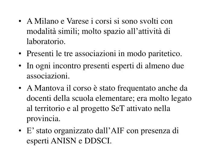 A Milano e Varese i corsi si sono svolti con modalità simili; molto spazio all'attività di laboratorio.