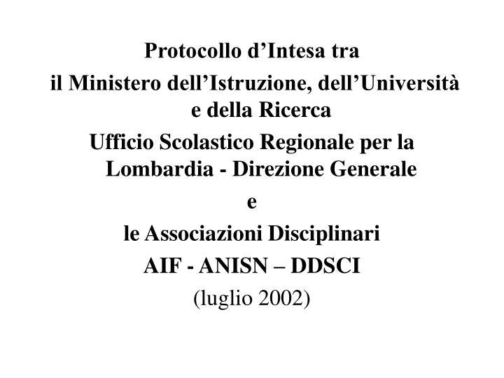 Protocollo d'Intesa tra