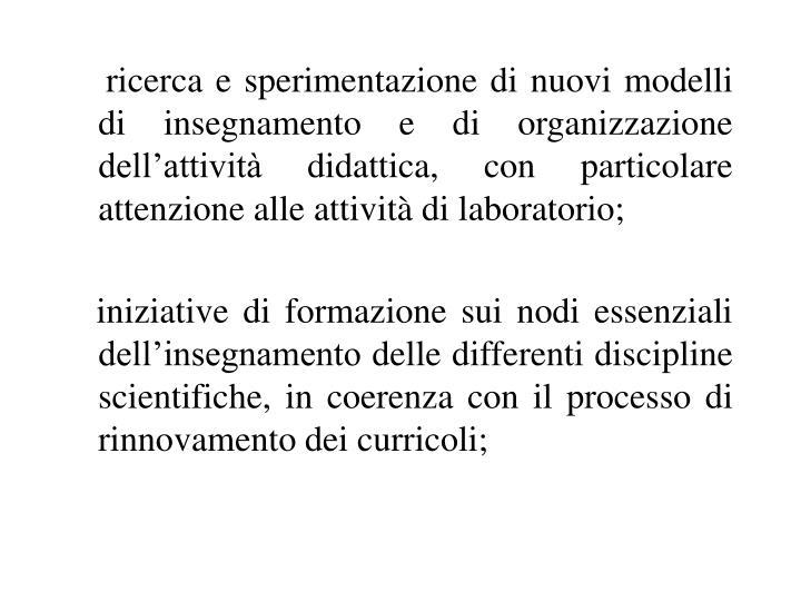 ricerca e sperimentazione di nuovi modelli di insegnamento e di organizzazione dell'attività didattica, con particolare attenzione alle attività di laboratorio;