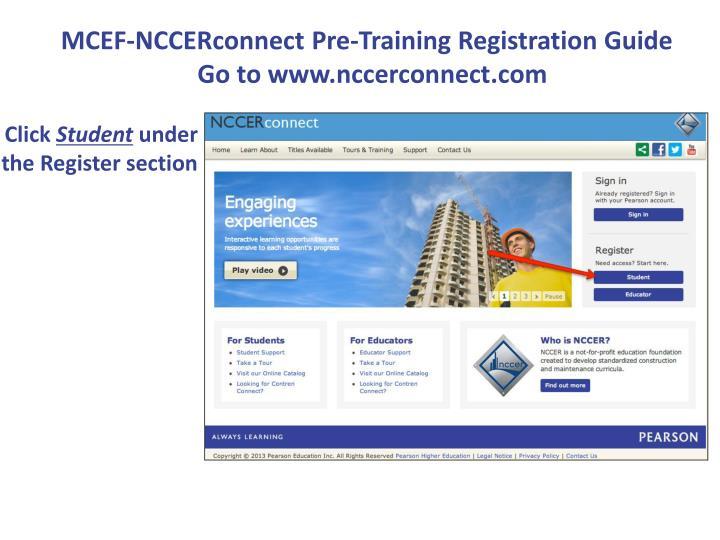 MCEF-NCCERconnect Pre-Training Registration Guide
