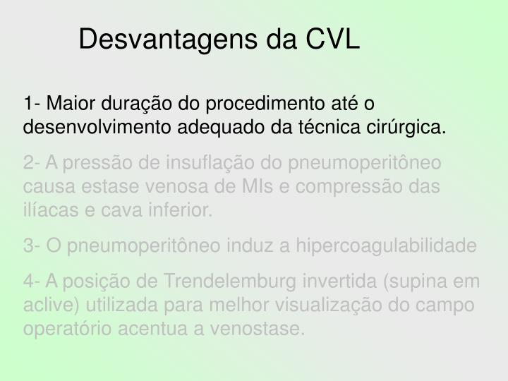 Desvantagens da CVL