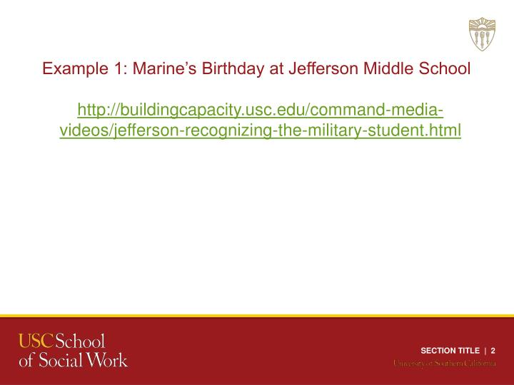 Example 1: Marine's Birthday at Jefferson Middle School