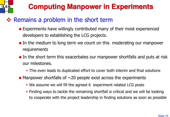 Computing Manpower in Experiments
