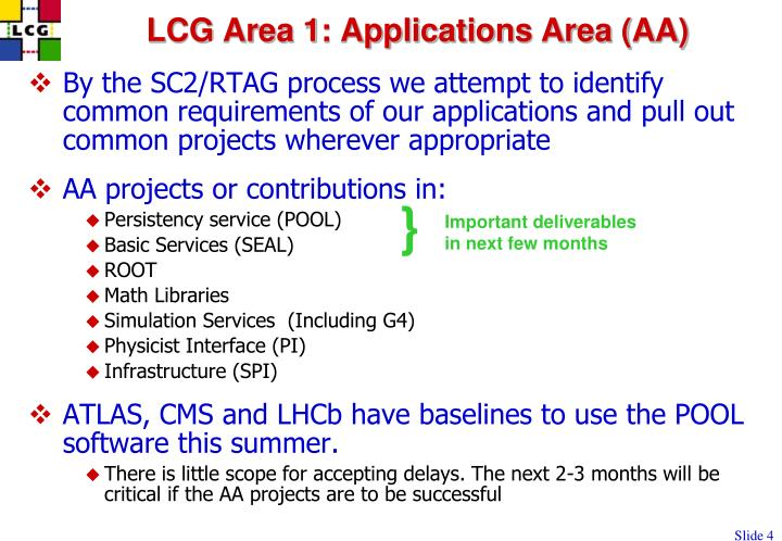 LCG Area 1: Applications Area (AA)