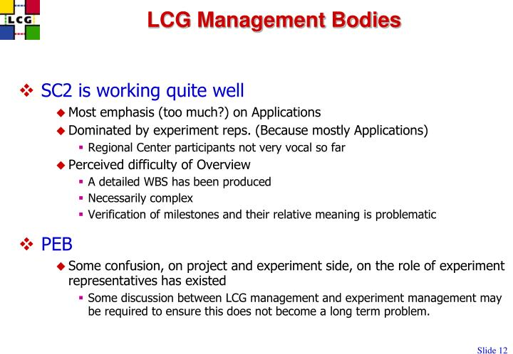 LCG Management Bodies