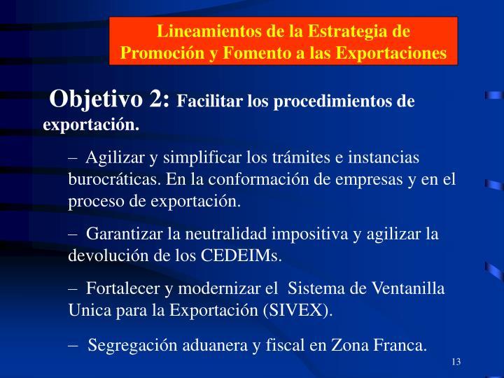 Lineamientos de la Estrategia de Promoción y Fomento a las Exportaciones