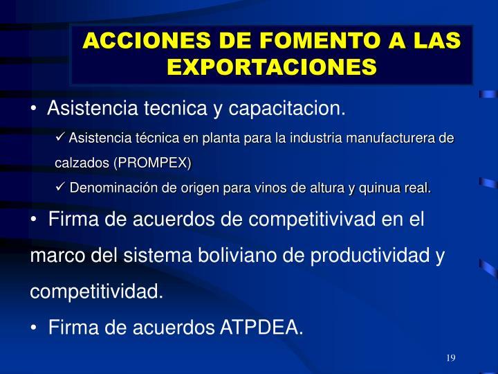 ACCIONES DE FOMENTO A LAS EXPORTACIONES