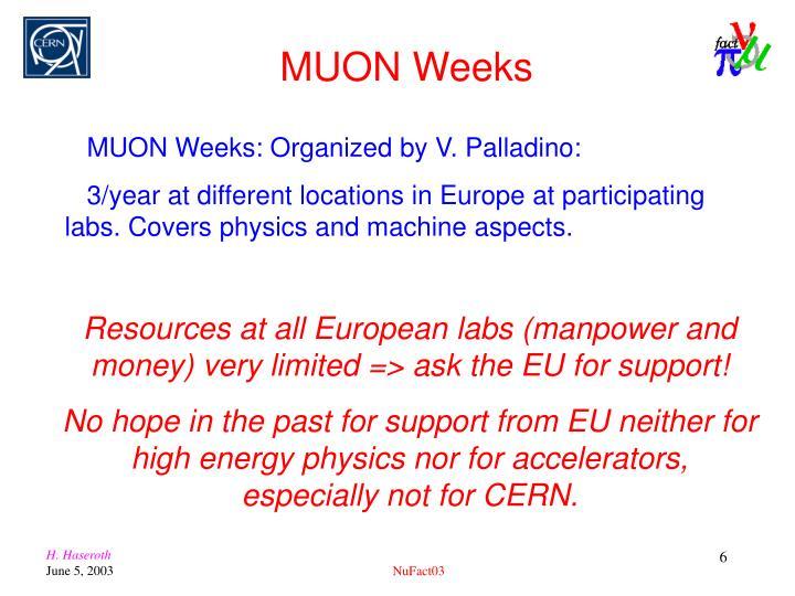 MUON Weeks: Organized by V. Palladino: