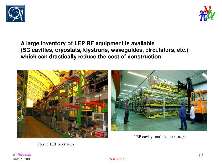 A large inventory of LEP RF equipment is available