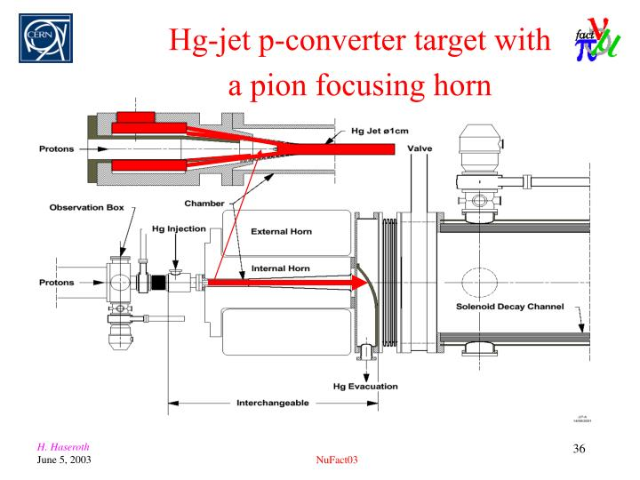 Hg-jet p-converter target with a pion focusing horn