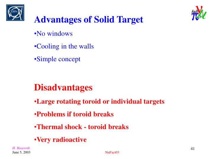 Advantages of Solid Target