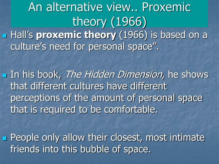 An alternative view.. Proxemic theory (1966)