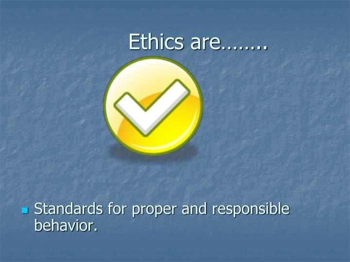 Ethics are……..