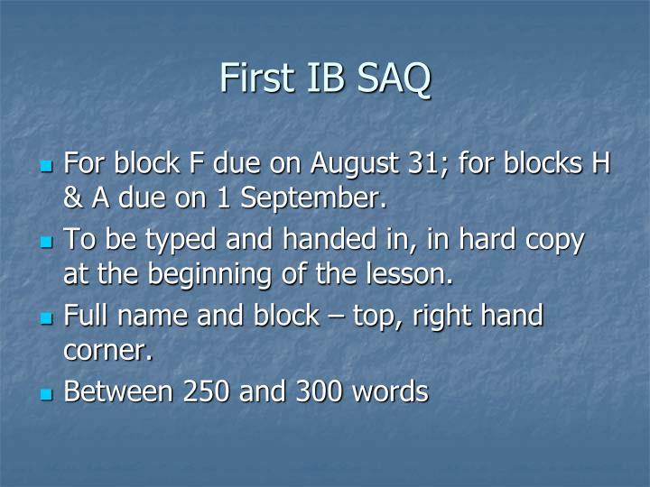 First IB SAQ
