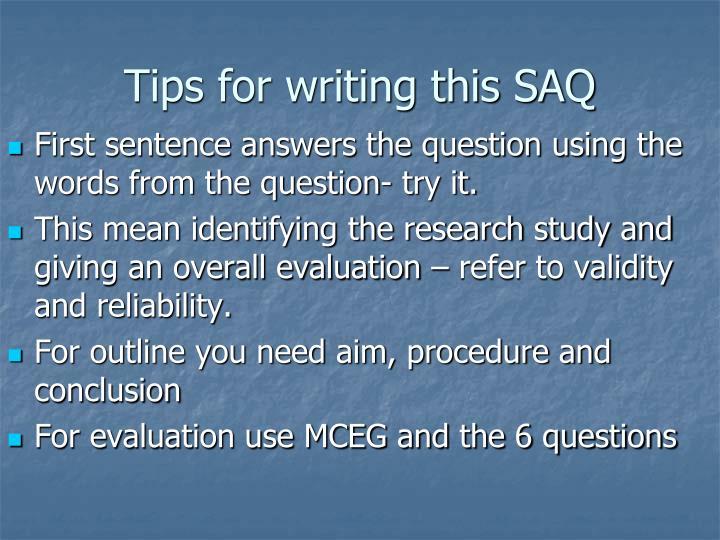 Tips for writing this SAQ