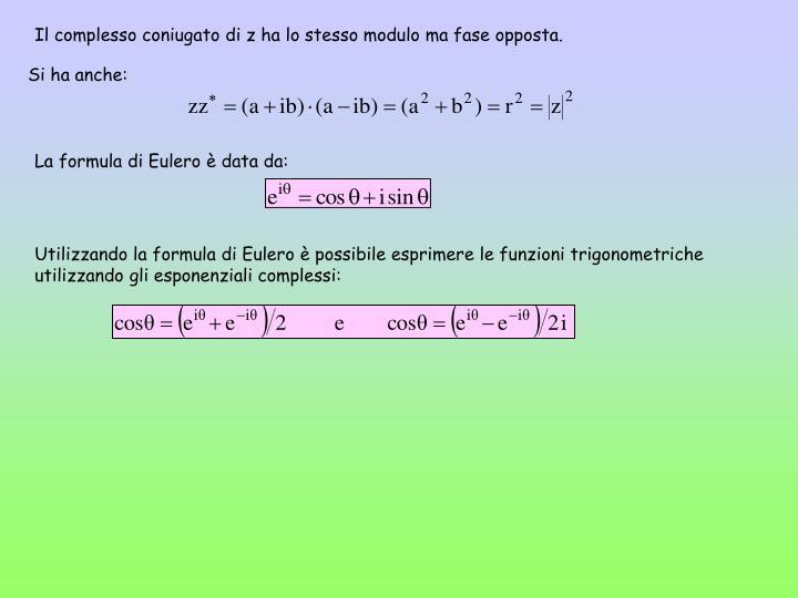 Il complesso coniugato di z ha lo stesso modulo ma fase opposta.