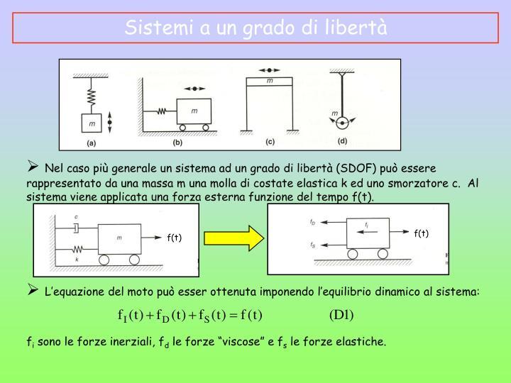Nel caso più generale un sistema ad un grado di libertà (SDOF) può essere rappresentato da una massa m una molla di costate elastica k ed uno smorzatore c.  Al sistema viene applicata una forza esterna funzione del tempo f(t).
