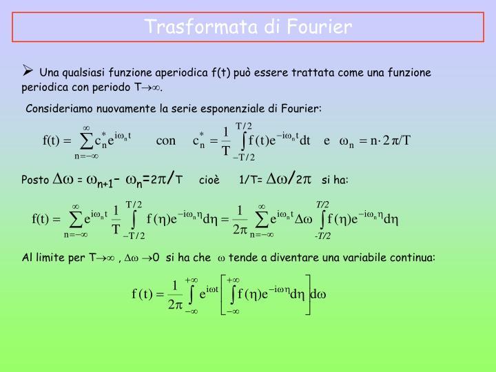 Consideriamo nuovamente la serie esponenziale di Fourier: