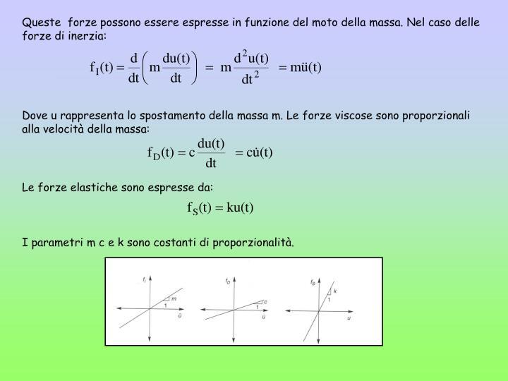 Queste  forze possono essere espresse in funzione del moto della massa. Nel caso delle forze di inerzia: