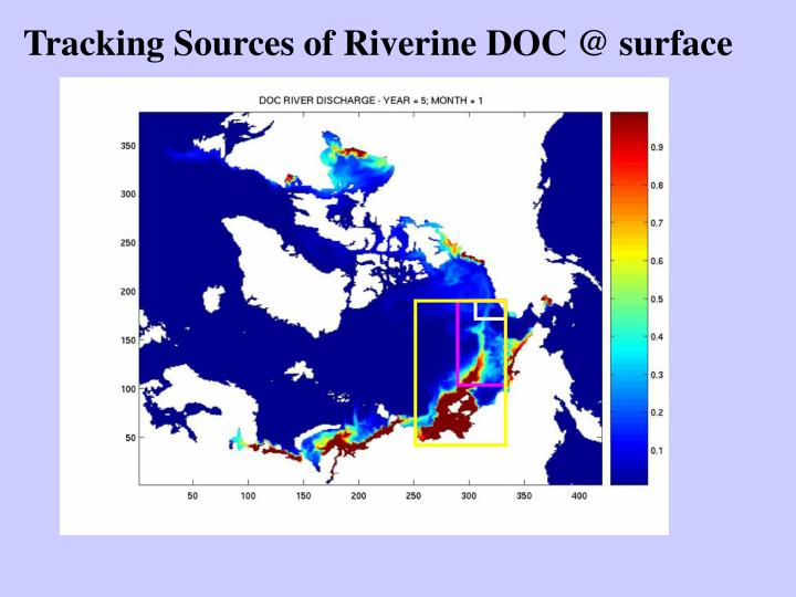 Tracking Sources of Riverine DOC @ surface