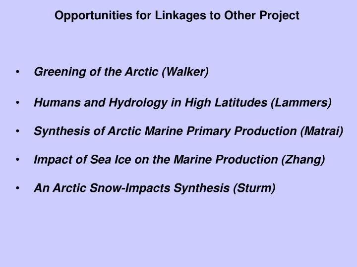 Opportunities for Linkages to Other Project