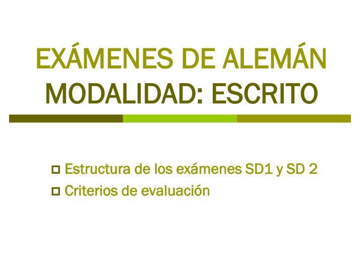 EXÁMENES DE ALEMÁN