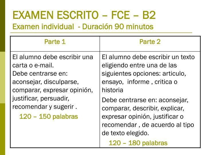 EXAMEN ESCRITO – FCE – B2