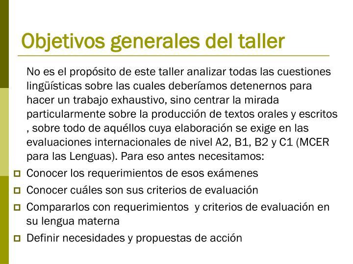 Objetivos generales del taller