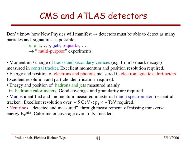 CMS and ATLAS detectors