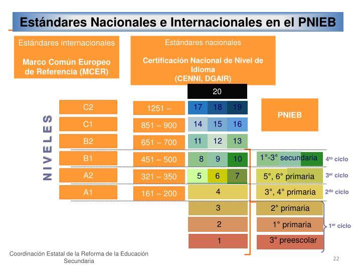 Estándares Nacionales e Internacionales en el PNIEB