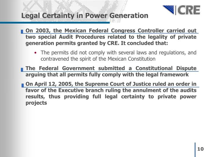 Legal Certainty in Power Generation