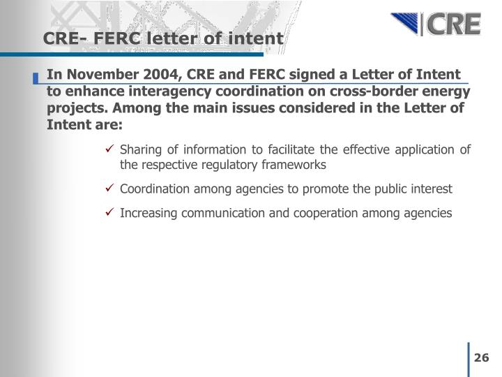 CRE- FERC letter of intent