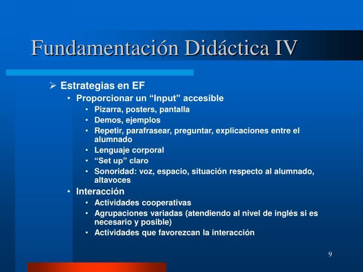 Fundamentación Didáctica IV