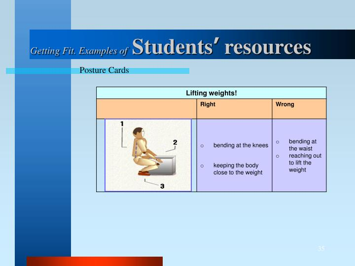 Getting Fit. Examples of