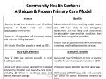community health centers a unique proven primary care model